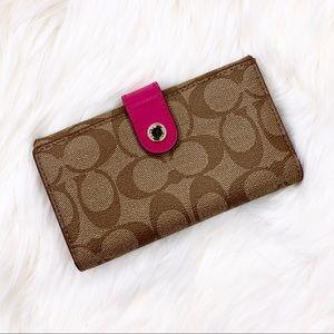 Coach Saffiano Leather Signature Wristlet Wallet